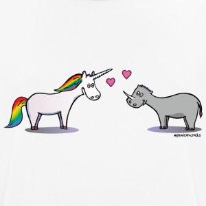 Unicorn & Rhino in love T-shirts - mannen T-shirt ademend
