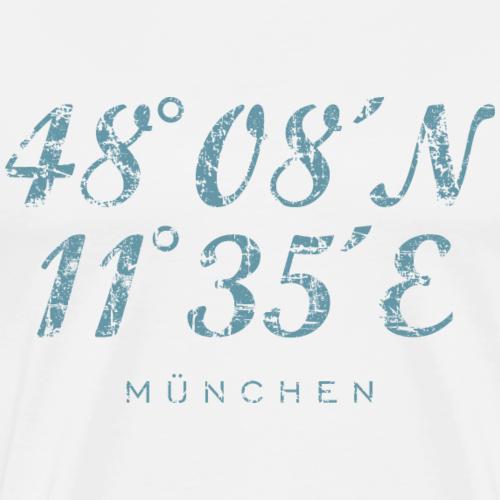 München Koordinaten Vintage Hellblau