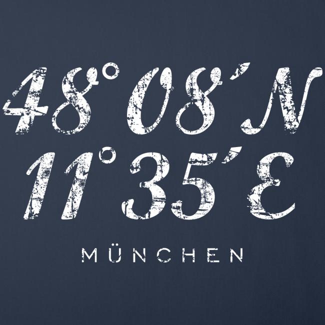 München Koordinaten (Vintage/Weiß) Kissenbezug