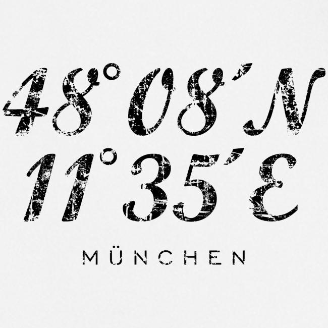 München Koordinaten (Vintage/Schwarz) Schürze