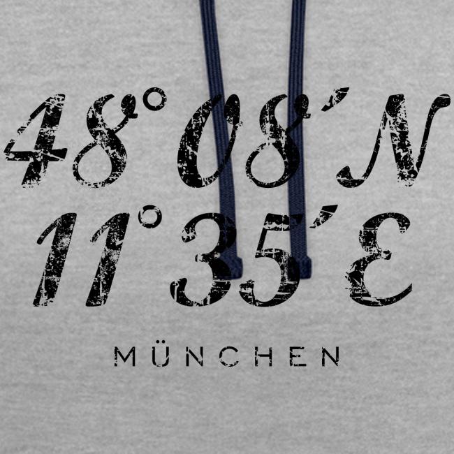 München Koordinaten (Vintage/Schwarz) Kontrast Hoodie