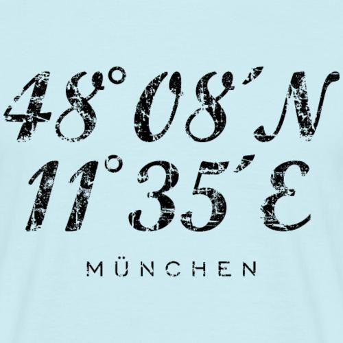 München Koordinaten Vintage Schwarz