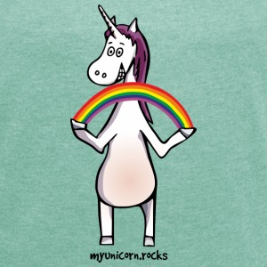 Magic unicorn with rainbow Camisetas - Camiseta con manga enrollada mujer