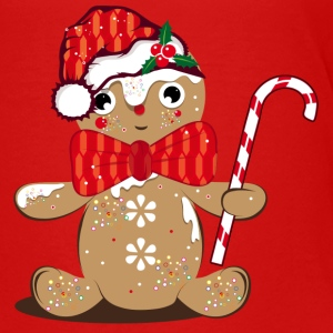 funny gingerbread man with candy cane Shirts - Teenage Premium T-Shirt
