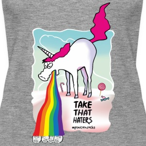 Unicorn throwing up rainbow Tops - Women's Premium Tank Top