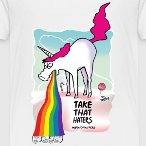 Unicorn throwing up rainbow T-shirts - Børne premium T-shirt
