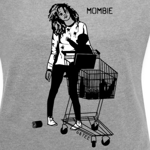 White Mombie T Grey - Women's T-shirt with rolled up sleeves