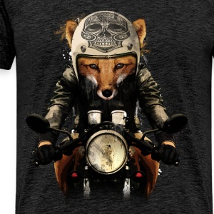 Charcoal gray Fox Biker T-Shirts - Men's Premium T-Shirt