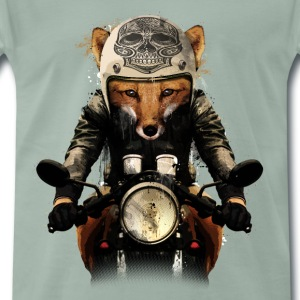Steel green Fox Biker T-Shirts - Men's Premium T-Shirt
