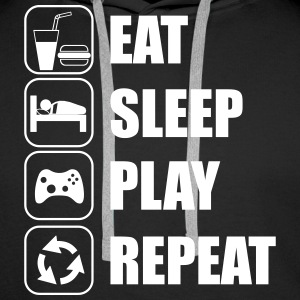 Eat,sleep,play,repeat Gamer Gaming Geek Nerd - Männer Premium Hoodie