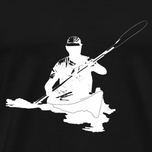 Silhouette Kayaking withe on black - Männer Premium T-Shirt