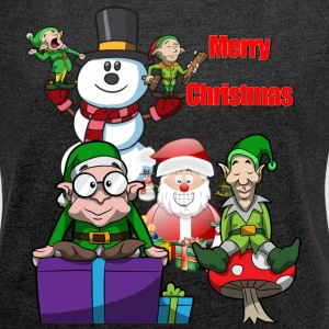 Santa Christmas Scene - Women's T-shirt with rolled up sleeves