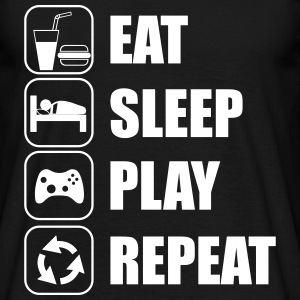 Eat,sleep,play,repeat Nerd Geek Gamer Gaming - T-shirt herr
