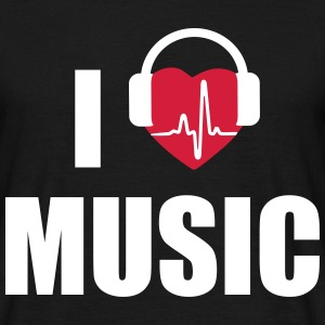 I love music - I heart music - T-shirt herr