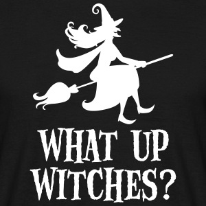 What Up Witches? Funny Witch Riding On Broom Camisetas - Camiseta hombre