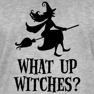 What Up Witches? Funny Witch Riding On Broom Camisetas - Camiseta vintage hombre