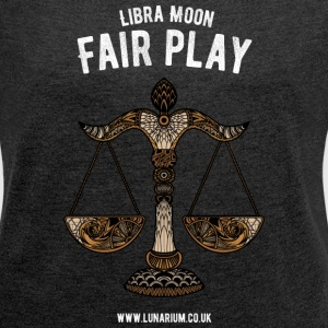 Libra Moon Women's T-shirt with rolled up sleeve - Women's T-shirt with rolled up sleeves