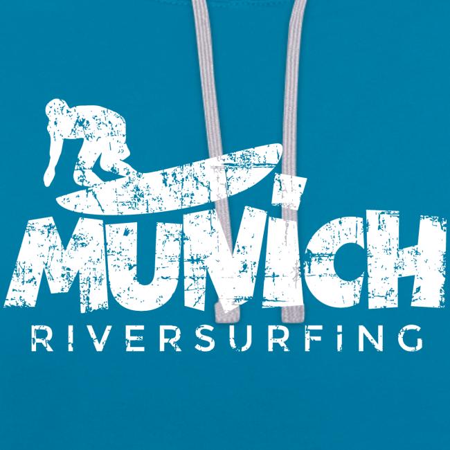 Munich Riversurfing (Vintage/Weiß) Kontrast Hoodie