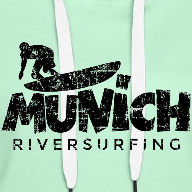 Munich Riversurfing (Vintage/Schwarz) Hoodie