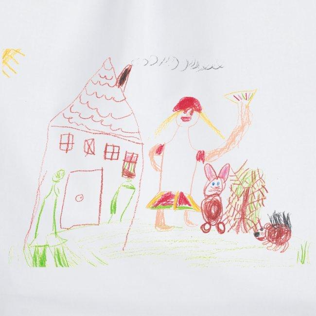 Haus und Igel auf weißem Beutel