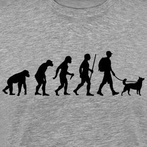 Evolution Hiking WIth Dog T-shirts - Mannen Premium T-shirt