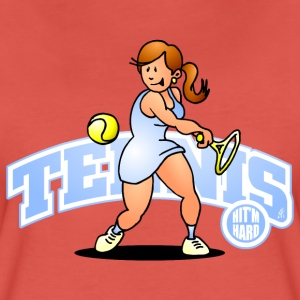 Tennis, Hit'm hard T-shirts - Dame premium T-shirt