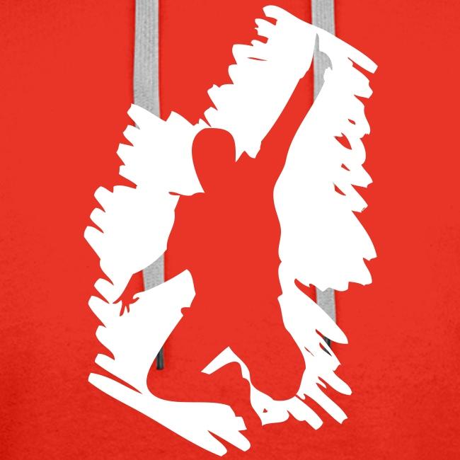 Jumping Man Schraffur Front - Man Kapuzenpulli