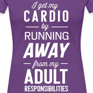 I get my cardio by running away from adult T-Shirts - Women's Premium T-Shirt