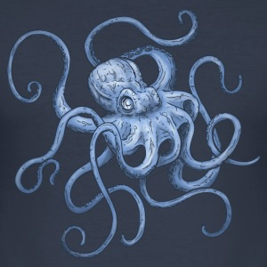 Navy Octopus T-Shirts - Men's Slim Fit T-Shirt