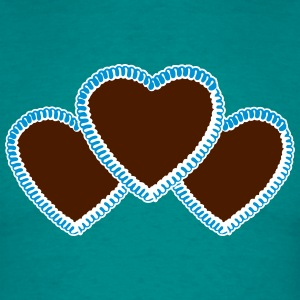 3 pieces of gingerbread heart bavarian blue white  T-Shirts - Men's T-Shirt