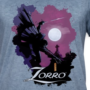 Zorro Hero By Night In Front Of A Full Moon - Vintage-T-shirt herr