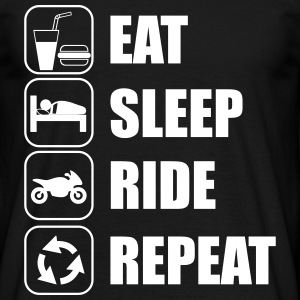 Eat,sleep,ride,repeat motociclista T-shirt  - Maglietta da uomo