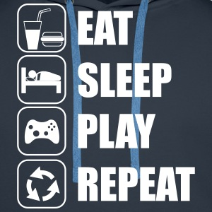 Eat,sleep,play,repeat Gamer Gaming Geek Nerd - Felpa con cappuccio premium da uomo