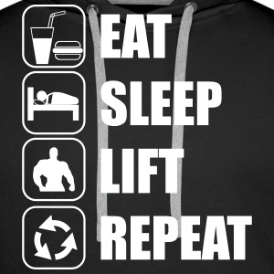 Eat sleep,lift,repeat - Felpa con cappuccio premium da uomo