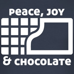 Peace, joy & chocolate (dark) T-Shirts - Men's Slim Fit T-Shirt