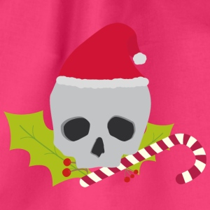 Chirstmas skull with candy cane Bags & Backpacks - Drawstring Bag
