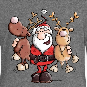 Santa Claus cuddles Reindeers Hoodies & Sweatshirts - Women's Boat Neck Long Sleeve Top