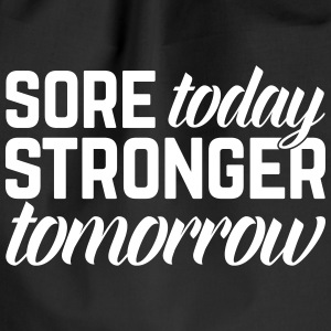 Stronger Tomorrow Gym Quote Bags & Backpacks - Drawstring Bag