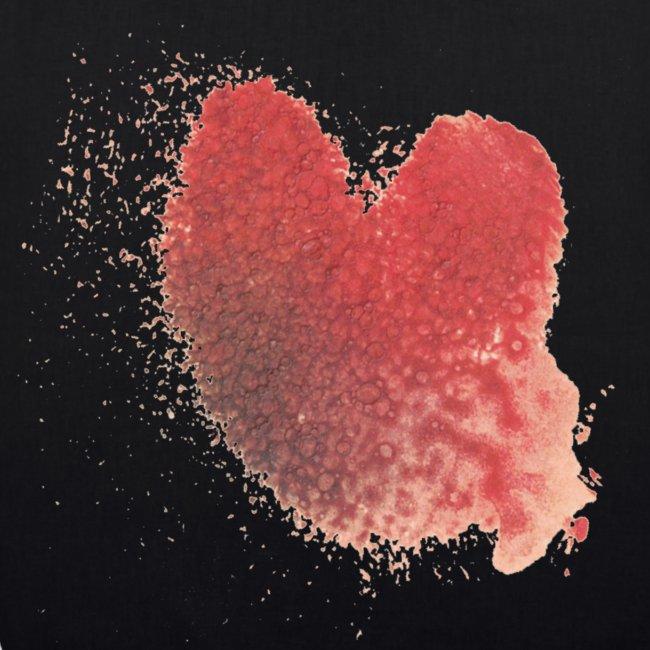 Herz von Konstantin auf schwarzem Beutel