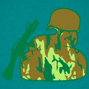 Helmet, weapon, machine, army, army, soldier, camo T-Shirts - Men's T-Shirt