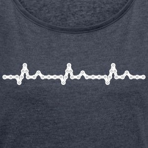 Bicycle Heartbeat Chain T-shirts - T-shirt med upprullade ärmar dam