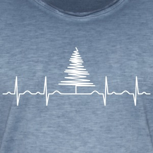 Heartbeat Christmas Tree Tee shirts - T-shirt vintage Homme