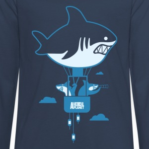 Animal Planet Humour Sharks Hot Air Balloon - Teenagers' Premium Longsleeve Shirt
