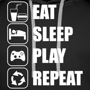 Eat,sleep,play,repeat Gamer Gaming Geek  Frikis - Sudadera con capucha premium para hombre