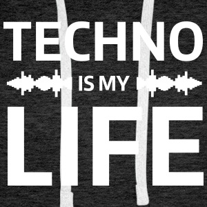 techno is my life house Club beat DJ Musik Hoodies & Sweatshirts - Men's Premium Hoodie