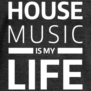house music is my life techno Club DJ Musik Sudaderas - Sudadera con escote drapeado mujer