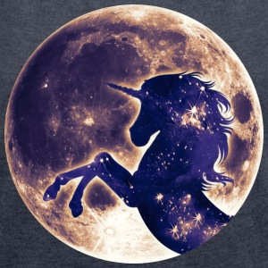 Unicorn full moon, galaxy, space, horse, fantasy T - Women's T-shirt with rolled up sleeves