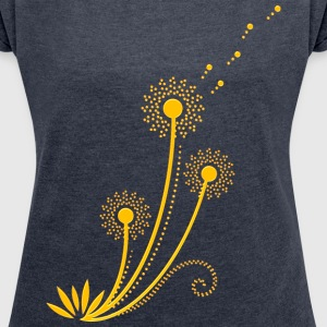 Blowball, Dandelion, summer, spring, gift, flower  - Women's T-shirt with rolled up sleeves
