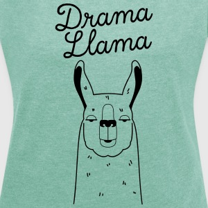 Drama Llama | Funny Animal Illustration T-Shirts - Frauen T-Shirt mit gerollten Ärmeln