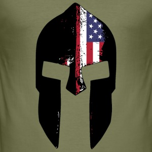 spartan helmet american T-Shirts - Men's Slim Fit T-Shirt